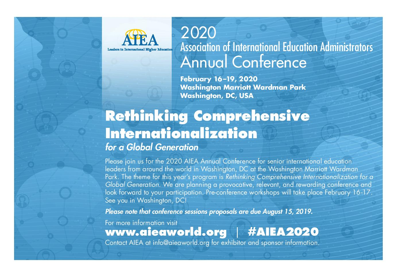 2020 conference postcard with logo on blue background with faces and connectors.Text invites participants to conference with theme, hashtag #AIEA2020, and words of invitation