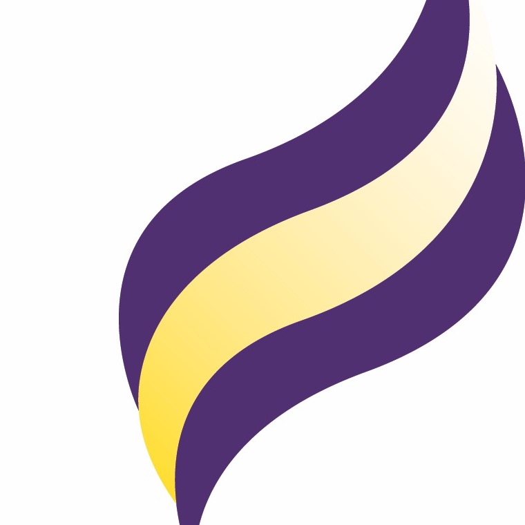 Minnesota State University Mankato Logo - purple and yellow flame on white background